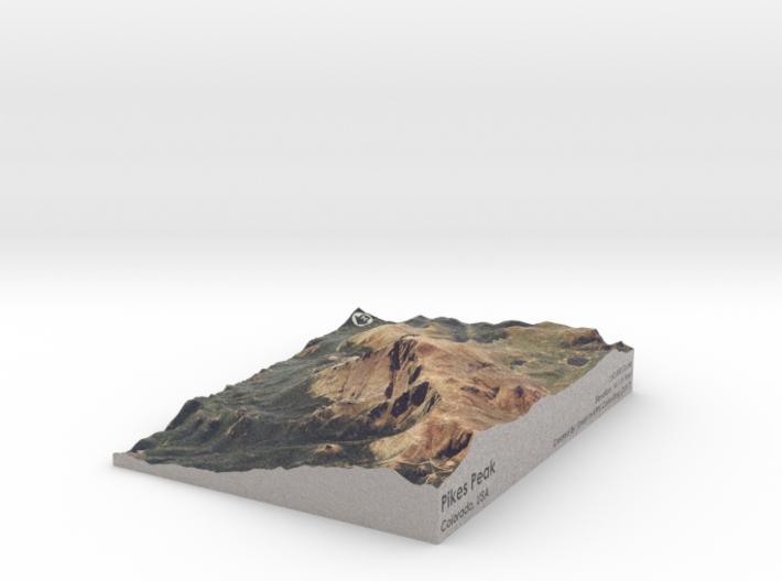 "Pikes Peak Map, Colorado: 7""x9"" 3d printed"