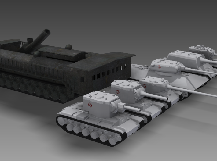 1/100 Gadfly Gun 3d printed The Gadfly Gun in firing position next to my heavy tanks. As you can see, this thing is immense.
