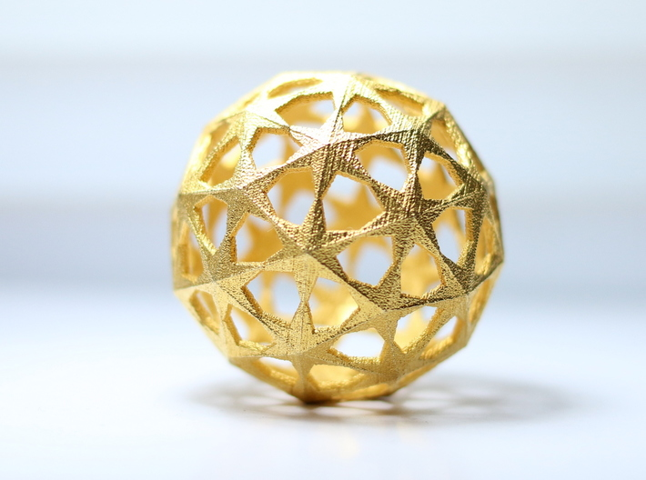 Star Sphere 3d printed Star Sphere in Polished Gold Steel