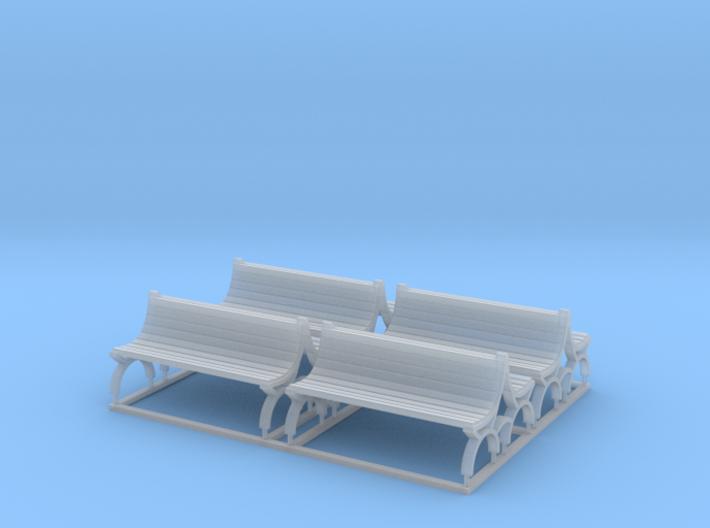 Bench type E (duble) - H0 ( 1:87 scale ) 4 Pcs set 3d printed
