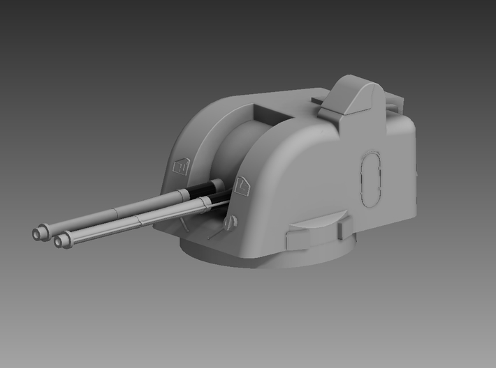 Twin Bofors 120mm Turret 1/100 3d printed