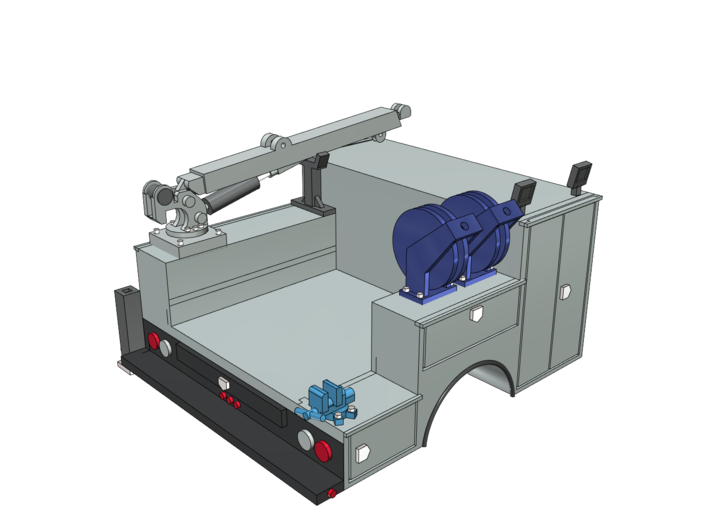 Pickup Truck Service Bed With Crane 1-50 Scale 3d printed