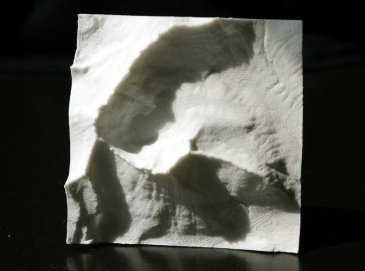 3'' Mt. Wilbur Terrain Model, Montana, USA 3d printed Photo of actual model from above, North is up.