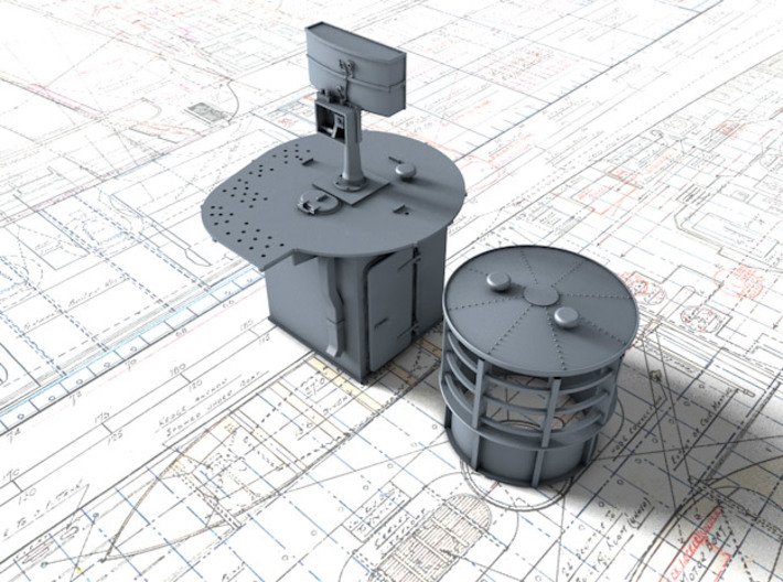 1/144 Flowers Class RDF Lantern and Office 1942 3d printed 3d render showing view from Starboard
