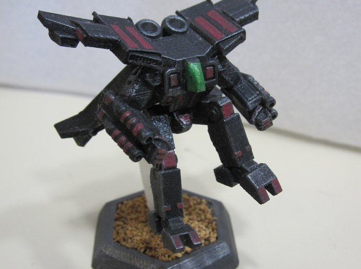 Mecha- Crusher LAM AirMech Pose 2 (1/285th) 3d printed Painted by Devin Ramsey (Sumaire) in 'Dreadnought BattleCorps' colors for use in Battletech tabletop wargaming