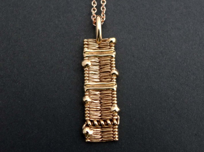 Cell Membrane Pendant - Science Jewelry 3d printed Cell Membrane Pendant in polished bronze