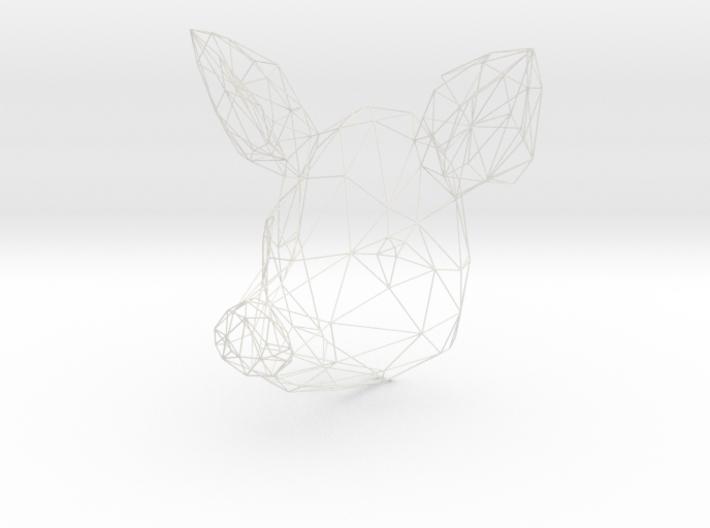 Wireframe pig head 3d printed