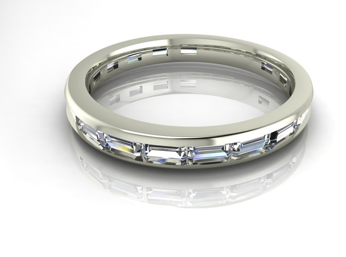 Baguette channel wedding band 3d printed