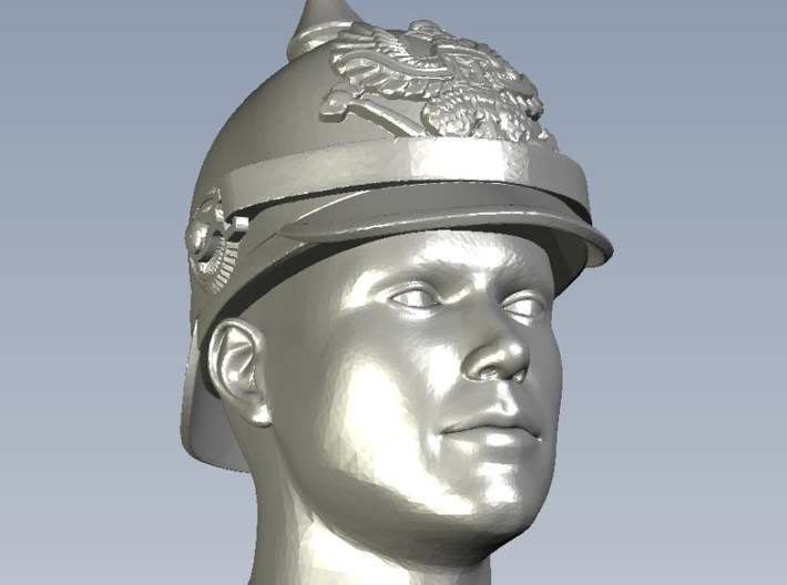 1/64 scale figure heads w pickelhaube helmets x 6 3d printed