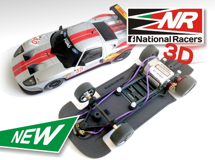 3D Chassis - NINCO Ford GT (AW/SW) 3d printed Chassis compatible with NINCO model (slot car and other parts not included)