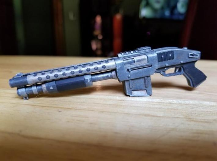 Zx76 Double Barrel Shotgun 1:6 scale 3d printed Zx-76 model in frosted ultra detail, hand painted.  Size shown is 1:6 scale.