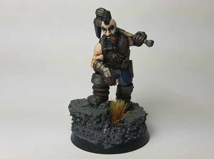 Dwarf Fighter 3d printed Painted with acrylic paints and mounted on a 1 inch base.