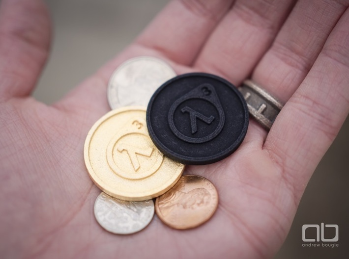 Half-Life 3 Lucky Coin 3d printed Black Strong Flexible and Matte Gold Steel