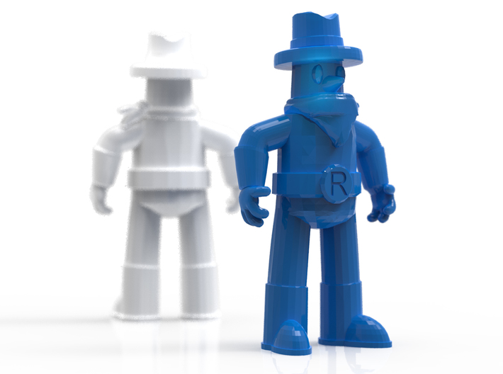 """Ranger Guy 1.5"""" Figurine (Best of All the Guys!) 3d printed Render, simulating white strong and flexible and blue strong and flexible"""