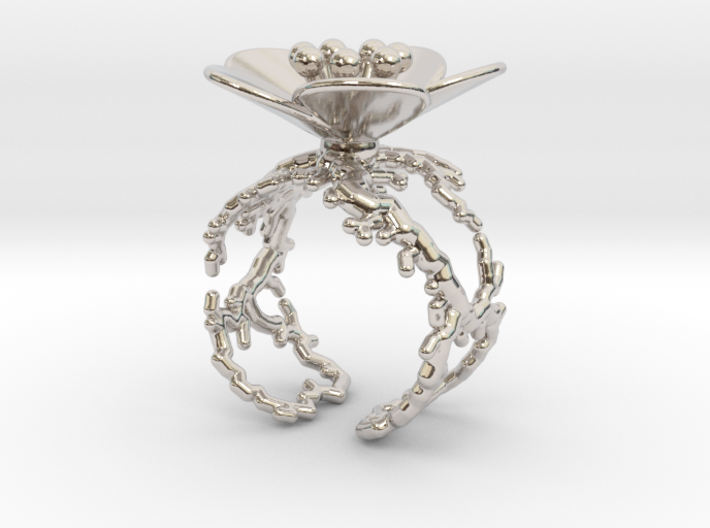 Flower ring (US sizes 10 – 13) 3d printed