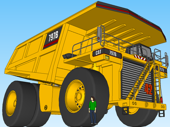 CAT 797B Mine Haul Truck 1:160 Scale 3d printed Sketchup Output