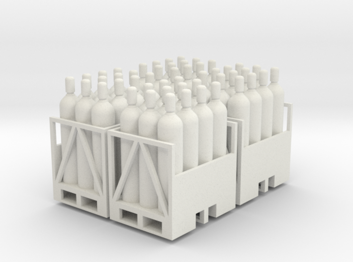 Acetylene Tanks On Pallet 4 pack 1-50 scale 3d printed