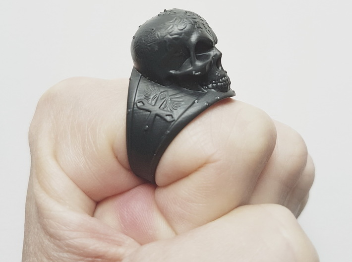 Silver Skull Ring Engraved Size 12 3d printed High Definition Acrylate