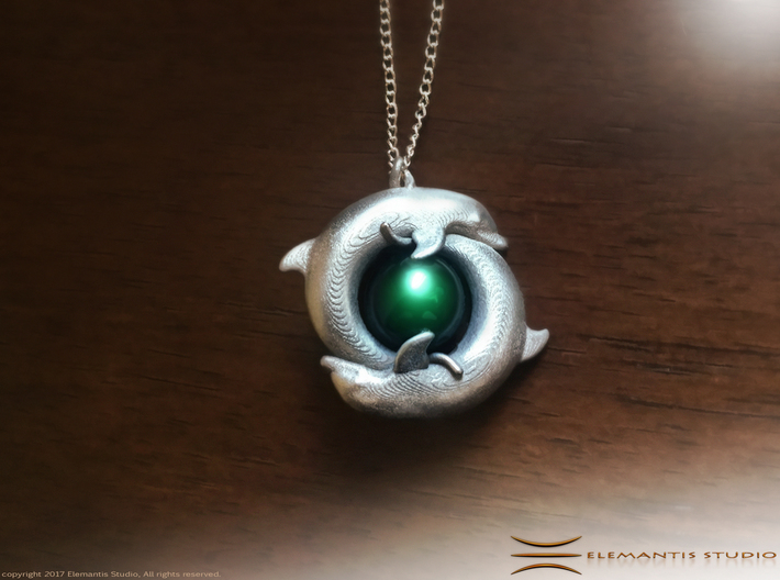 Piscean / Yin Yang Dolphin Totem Pendant 4.5cm 3d printed Polished Nickel Steel Example (chain and cabachon not included)