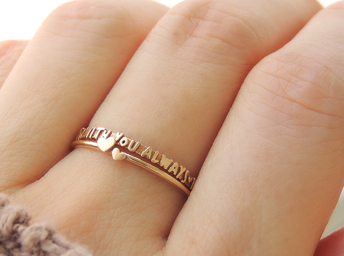 With You Always Ring (Multiple Sizes) 3d printed 'With You Always' and Twin Heart Ring in Polished Bronze