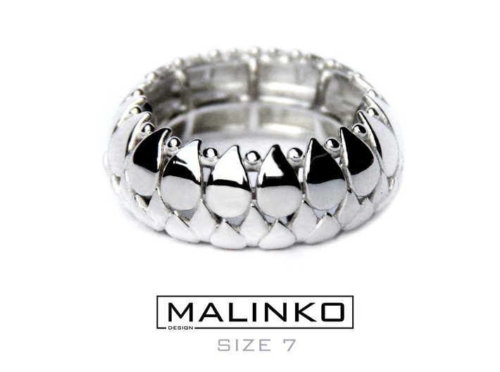 LEAFY Ring Size 7 (17.3mm) 3d printed LEAFY Ring in Premium Silver