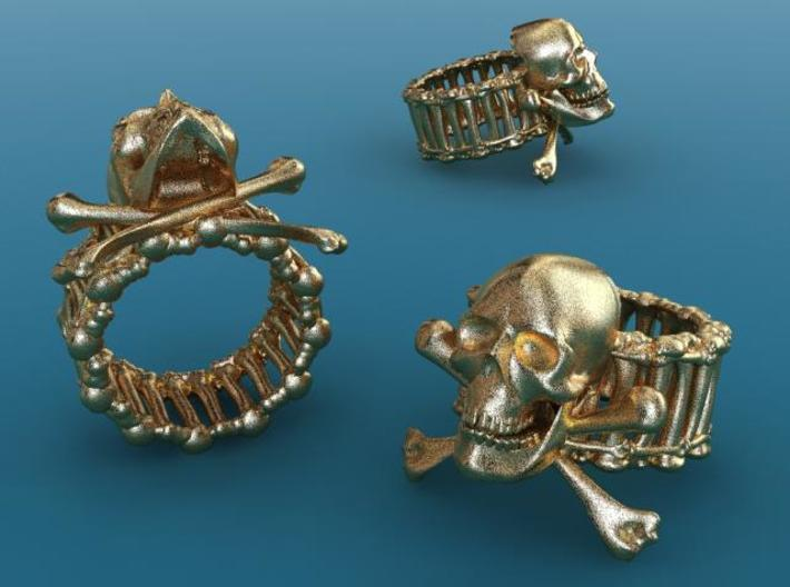 Skull ring 3d printed Gold plated glossy render