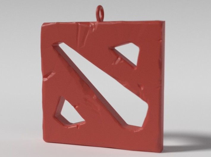DOTA 2 Polygonal Logo Pendant Keychain Necklace 3d printed Plastic Preview Render