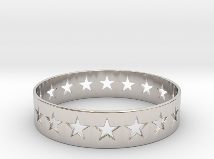 Stars Around (5 points, cut through, thin) - Ring 3d printed