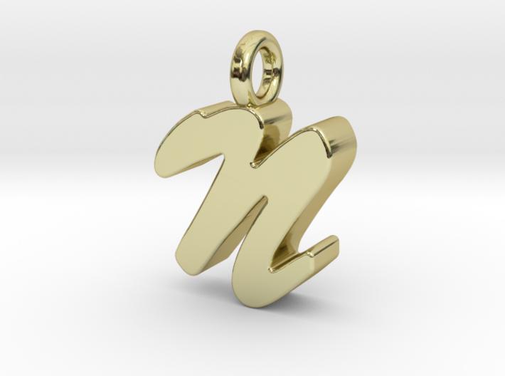 N - Pendant 3mm thk. 3d printed