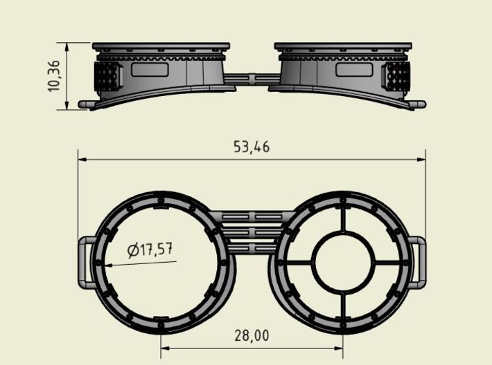 Steampunk: Glasses / Googles - Scale Model 3d printed