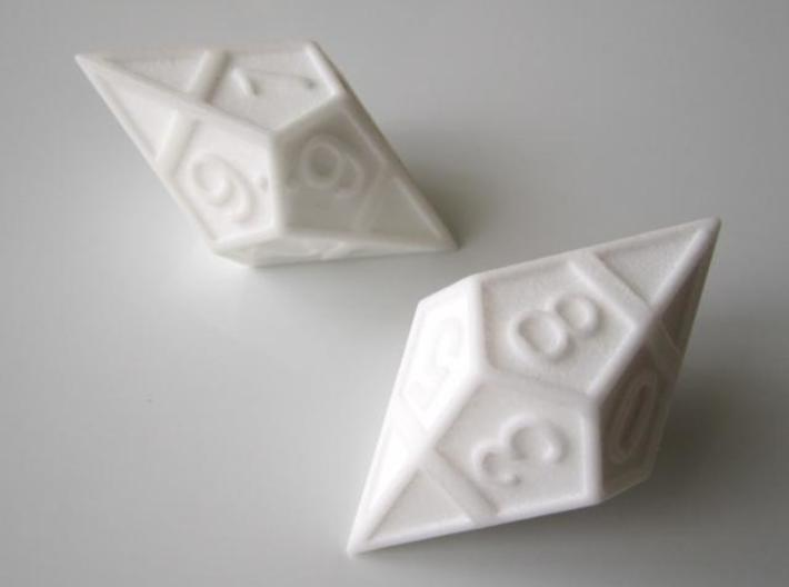 D10 Framed Diamond Dice 3d printed In Polished White Strong and Flexible (two of them)
