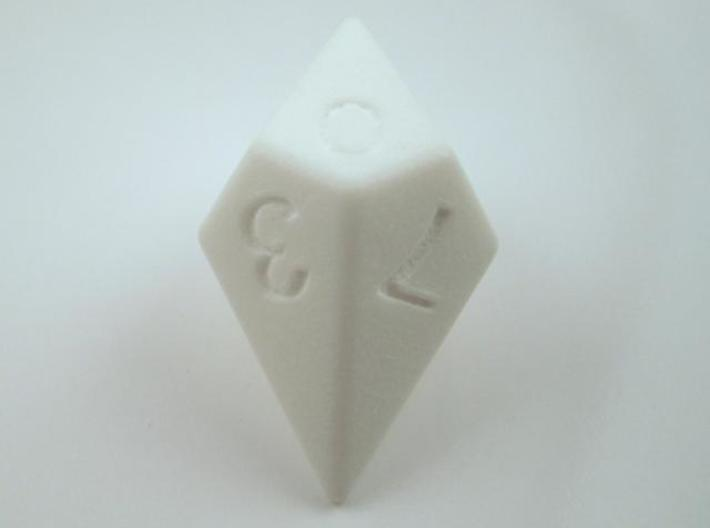 D10 Diamond Dice 3d printed In Polished White Strong and Flexible