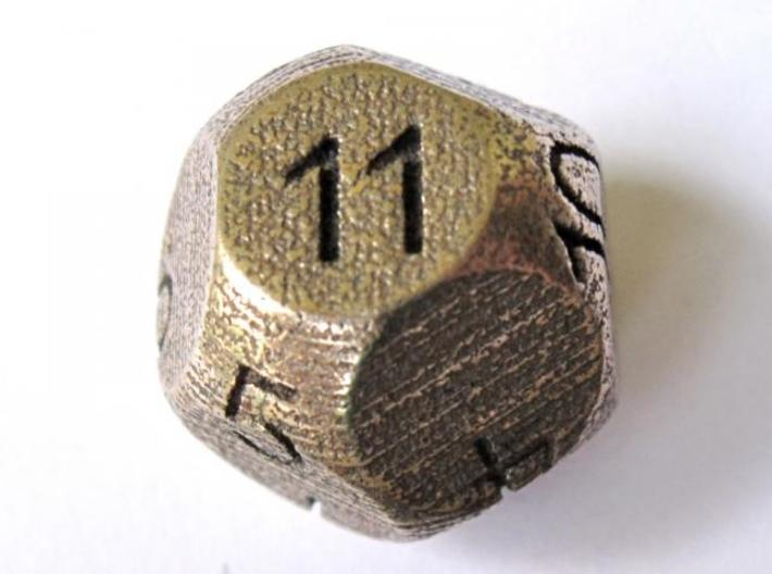 D11 Sphere Dice 3d printed In Stainless Steel (numbers manually inked) - picture courtesy of Justin M.