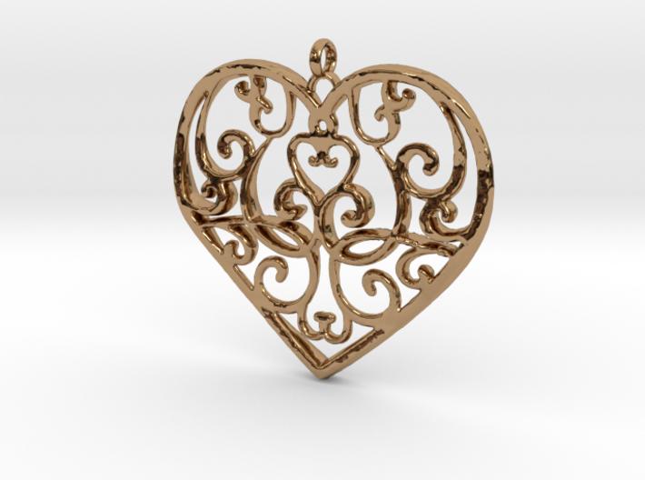 Filigree Antique Heart pendant 3d printed