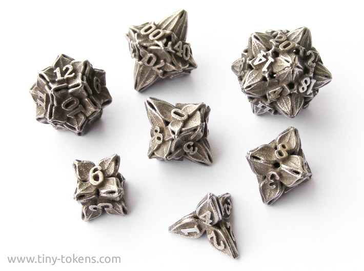 Floral Dice - Gaming Set + 10D10/decader (7 dice) 3d printed The full set  in blank stainless steel
