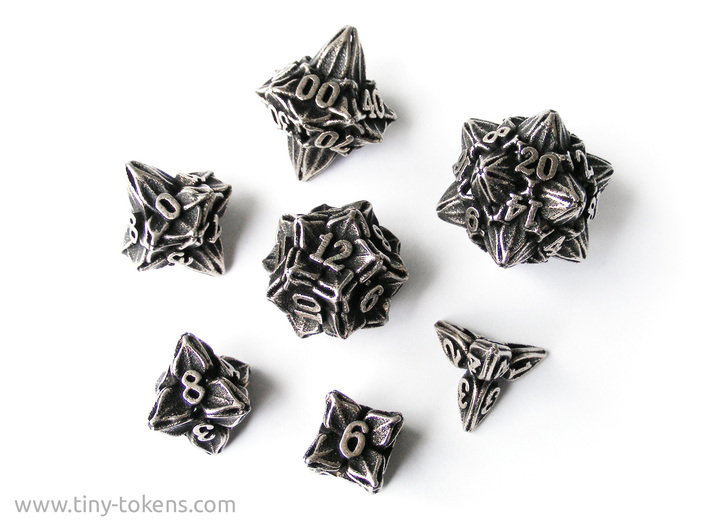 Floral Dice - Gaming Set + 10D10/decader (7 dice) 3d printed Stainless steel  'inked' in black