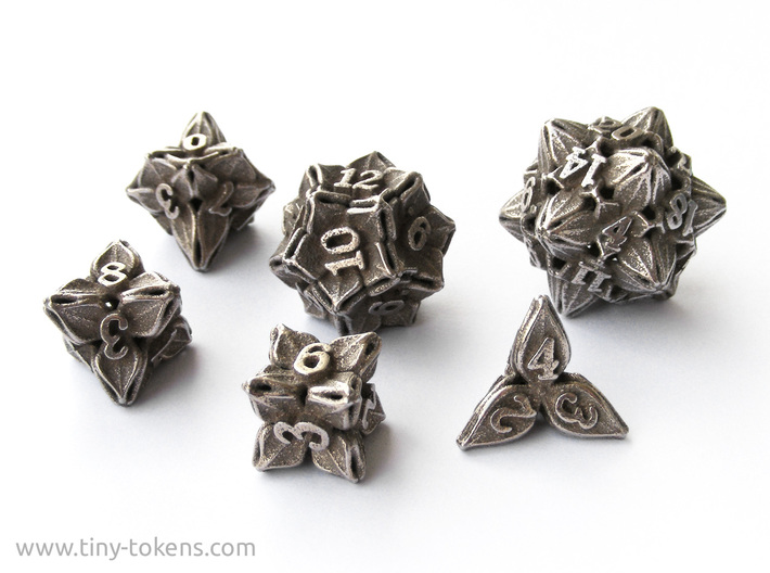 Floral Dice - Gaming Set (6 dice) 3d printed The full set in plain stainless steel