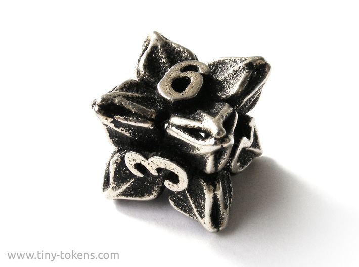Floral Dice – D6 Gaming die 3d printed Stainless steel 'inked' in black