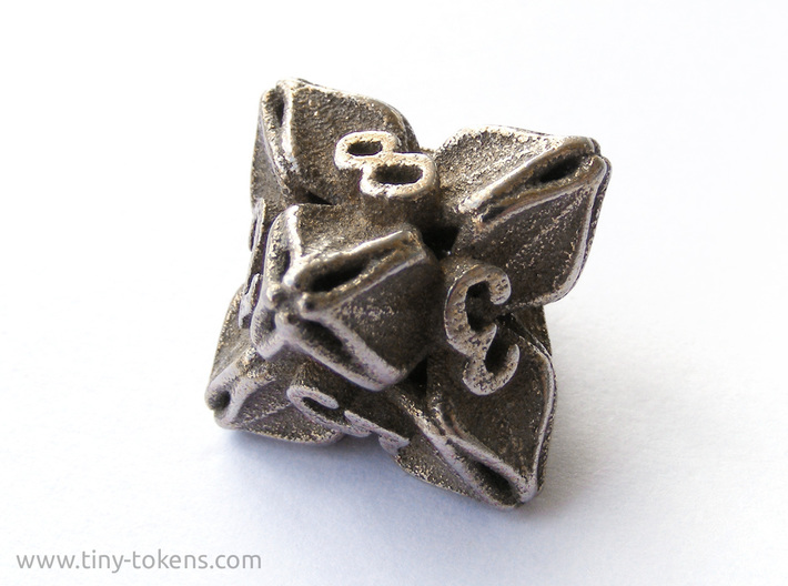 Floral Dice – D8 Gaming die 3d printed Plain stainless steel