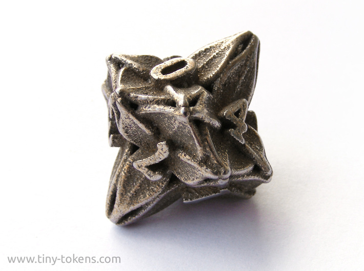 Floral Dice – D10 Gaming die 3d printed Plain stainless steel