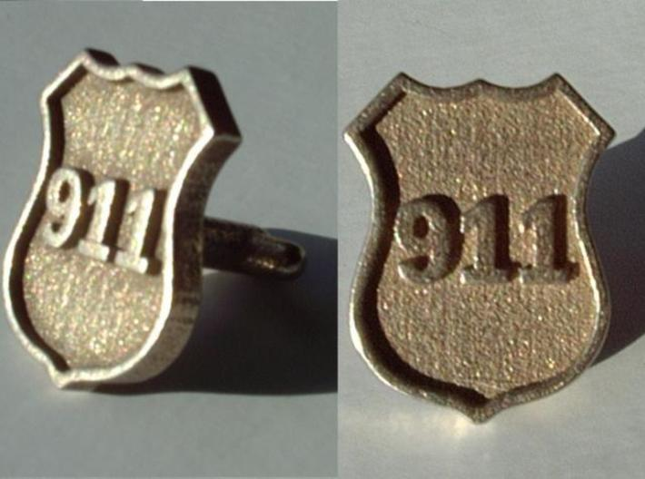 911 Police Shield Cuff-links 3d printed Shown in Shapeways' plain stainless finish