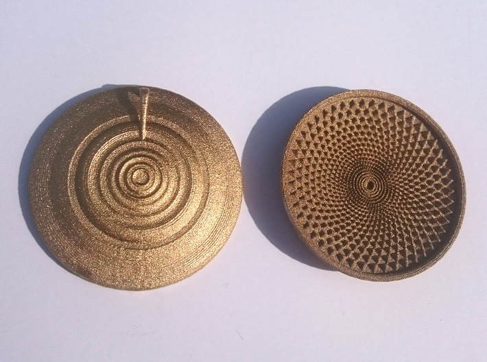 Sunflower Drop - 6cm 3d printed Front and Back.  You decide which is which...
