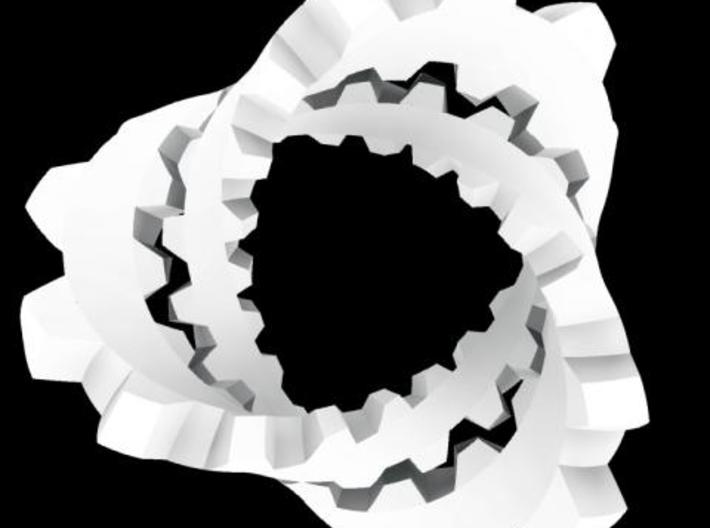 Trefoil with Cogs 3d printed Rhino render.