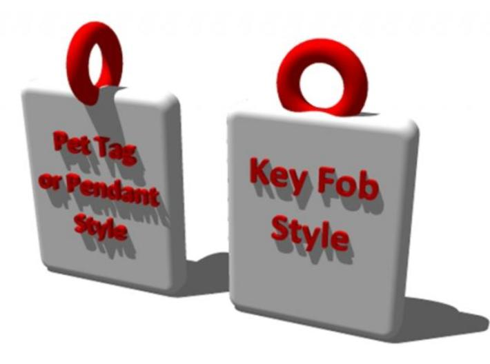 Police Shield Pet Tag / Key Fob 3d printed Choose the best eyelet style  to suit your needs