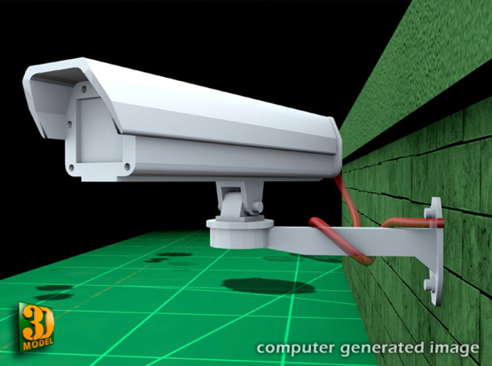 Surveillance cameras (1/24) double pack 3d printed surveillance cameras - 1/24th scale - double pack - on wallmount