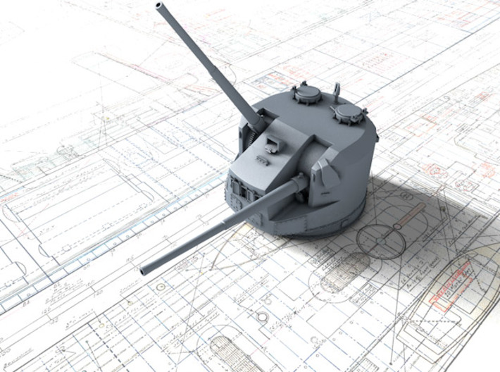 1/200 Dual Purpose 5.25 Inch Guns 1943 x8 3d printed 3d render showing product detail