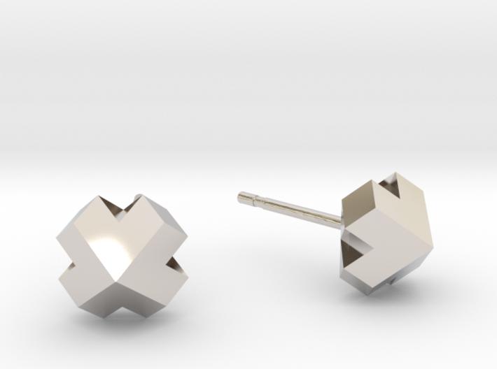 Four-face heart earrrings 3d printed