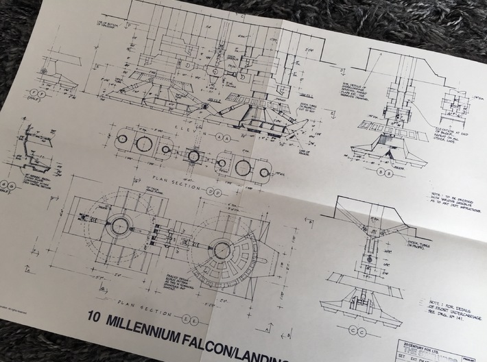 Perfect Grade Falcon, 1:72, Landing Gear Rings 3d printed Blueprints from Star Wars (1977)