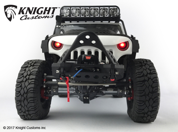 AJ40011 Halo Light Bucket Set 3d printed Shown fitted to the the Knight Customs Skull Face grill & Axial JK (sold separately)