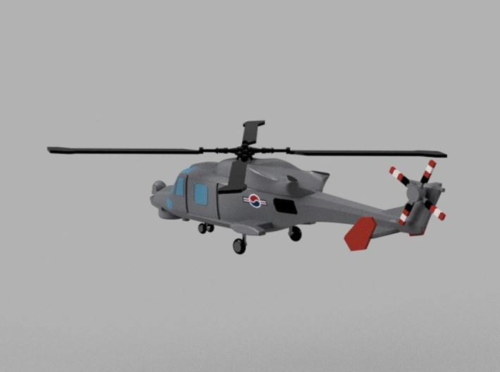 1/2000 Korean Navy aircraft set No.1 3d printed AW159 Wildcat.Computer software render.The actual model is not full color. Not exactly same for 1/2000 model.